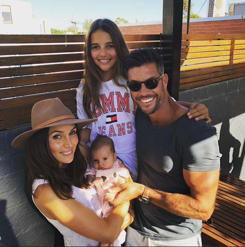 Sam Wood with his partner Snezana Markoski, and two daughters Eve, and Willow. Source: samjameswood/instagram