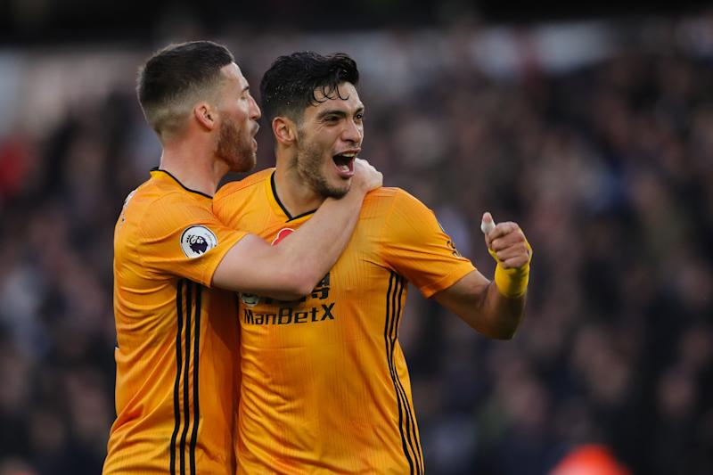 WOLVERHAMPTON, ENGLAND - NOVEMBER 10: Raul Jimenez of Wolverhampton Wanderers celebrates after scoring a goal to make it 2-0 during the Premier League match between Wolverhampton Wanderers and Aston Villa at Molineux on November 10, 2019 in Wolverhampton, United Kingdom. (Photo by Sam Bagnall - AMA/Getty Images)