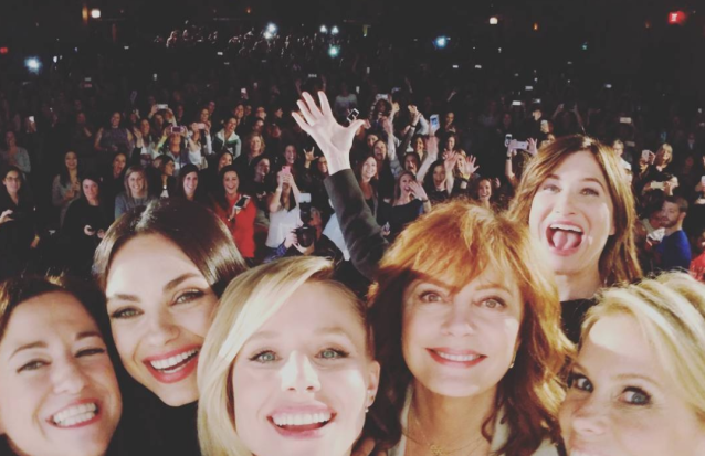 """<p>""""Screening #badmomschristmas for 700 bad mothers in Chicago tonight,"""" the star captioned this crowd selffie, where she is surrounded by a bevy of her beautiful co-stars including Mila Kunis, Kathryn Hahn, Susan Sarandon, and Cheryl Hines. (Photo: <a href=""""https://www.instagram.com/p/BanGbriFRl4/?hl=en&taken-by=kristenanniebell"""" rel=""""nofollow noopener"""" target=""""_blank"""" data-ylk=""""slk:Kristen Bell via Instagram"""" class=""""link rapid-noclick-resp"""">Kristen Bell via Instagram</a>) </p>"""