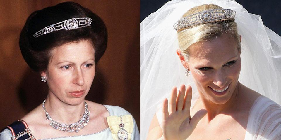 """<p>This <a href=""""http://www.dailymail.co.uk/news/article-2020770/Zara-Phillips-wedding-Mike-Tindalls-bride-borrowed-great-grandmothers-tiara.html"""" rel=""""nofollow noopener"""" target=""""_blank"""" data-ylk=""""slk:tiara"""" class=""""link rapid-noclick-resp"""">tiara</a> was originally given to Queen Elizabeth II as a gift from her mother-in-law. Elizabeth then gave it to her daughter Princess Anne, who let <em>her</em> daughter Zara Phillips wear it on her wedding day.</p>"""