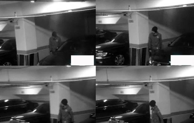 JYJ's Yoochun sneaks around his own carpark to avoid sasaeng, not knowing they are taping him (Youtube screengrab)