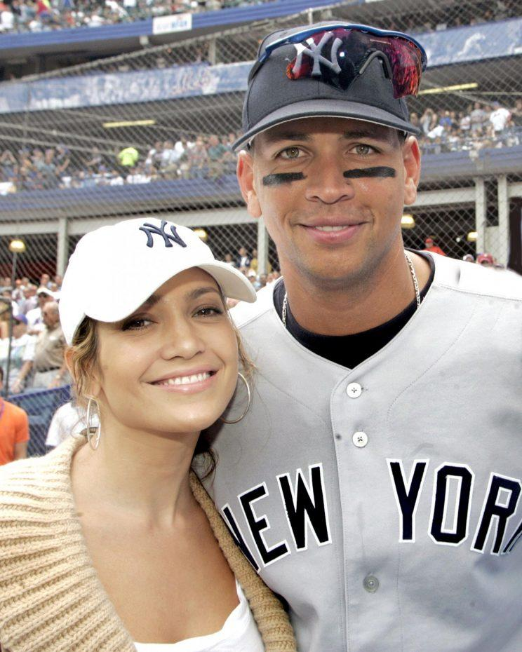 Jennifer Lopez and Alex Rodriguez at a Yankees vs. Mets Subway Series game in 2005.