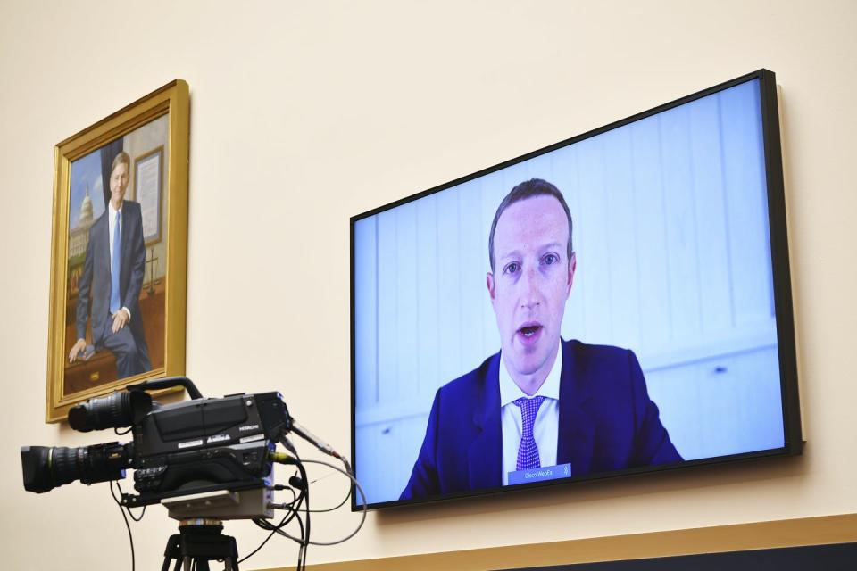 "<span class=""caption"">Facebook CEO Mark Zuckerberg testifies remotely during a House Judiciary subcommittee on antitrust on Capitol Hill in July 2020 in Washington, D.C.</span> <span class=""attribution""><span class=""source"">(Mandel Ngan/Pool via AP)</span></span>"