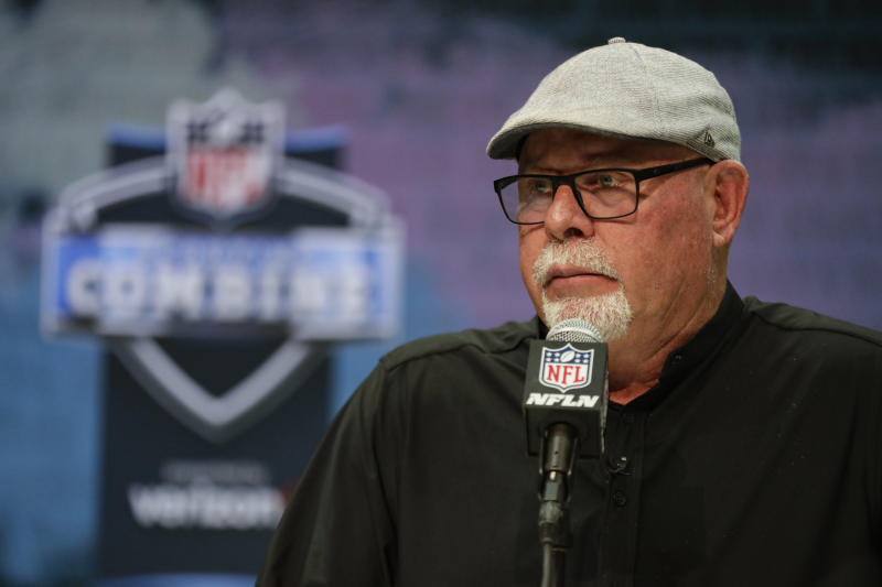 Tampa Bay Buccaneers head coach Bruce Arians speaks during a news conference at the NFL scouting combine in Indianapolis. (AP Photo/Michael Conroy)