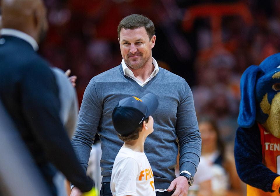 KNOXVILLE, TN - MARCH 2: Former Tennessee Volunteers football player Jason Witten is honored during a college basketball game between the Tennessee Volunteers and Kentucky Wildcats on March 2, 2019, at Thompson-Boling Arena in Knoxville, TN. (Photo by Bryan Lynn/Icon Sportswire via Getty Images)