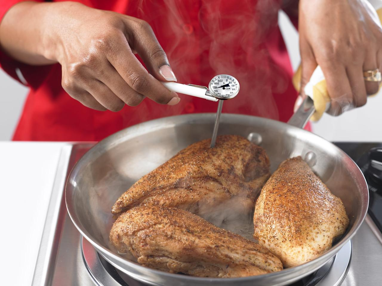 "<p>One of the trickiest parts of baking chicken is knowing exactly when it's done. To avoid dry, overcooked chicken or pink, undercooked chicken, invest in a <a href=""http://www.jcpenney.com/polder-dual-oven-and-meat-thermometer/prod.jump?ppId=14f732f&amp;country=US&amp;currency=USD&amp;selectedSKUId=78101430018&amp;selectedLotId=7810143&amp;fromBag=true&amp;cm_mmc=ShoppingFeed-_-GooglePLA-_-Thermometers-_-78101430018&amp;utm_medium=cse&amp;utm_source=google&amp;utm_campaign=thermometers&amp;utm_content=78101430018&amp;cid=cse%7Cgoogle%7C004%20%2d%20home%20furn%20leisure%7Cthermometers_78101430018"" target=""_blank"" class=""ga-track"" data-ga-category=""Related"" data-ga-label=""http://www.jcpenney.com/polder-dual-oven-and-meat-thermometer/prod.jump?ppId=14f732f&amp;country=US&amp;currency=USD&amp;selectedSKUId=78101430018&amp;selectedLotId=7810143&amp;fromBag=true&amp;cm_mmc=ShoppingFeed-_-GooglePLA-_-Thermometers-_-78101430018&amp;utm_medium=cse&amp;utm_source=google&amp;utm_campaign=thermometers&amp;utm_content=78101430018&amp;cid=cse