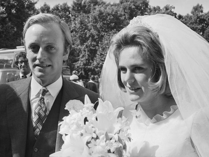 Camilla and Andrew Parker-Bowles on their wedding day