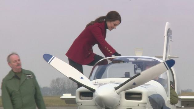 The Duchess of Cambridge, who is royal patron and Honorary Air Commandant of the RAF Air Cadets, visits RAF Wittering near Peterborough. .