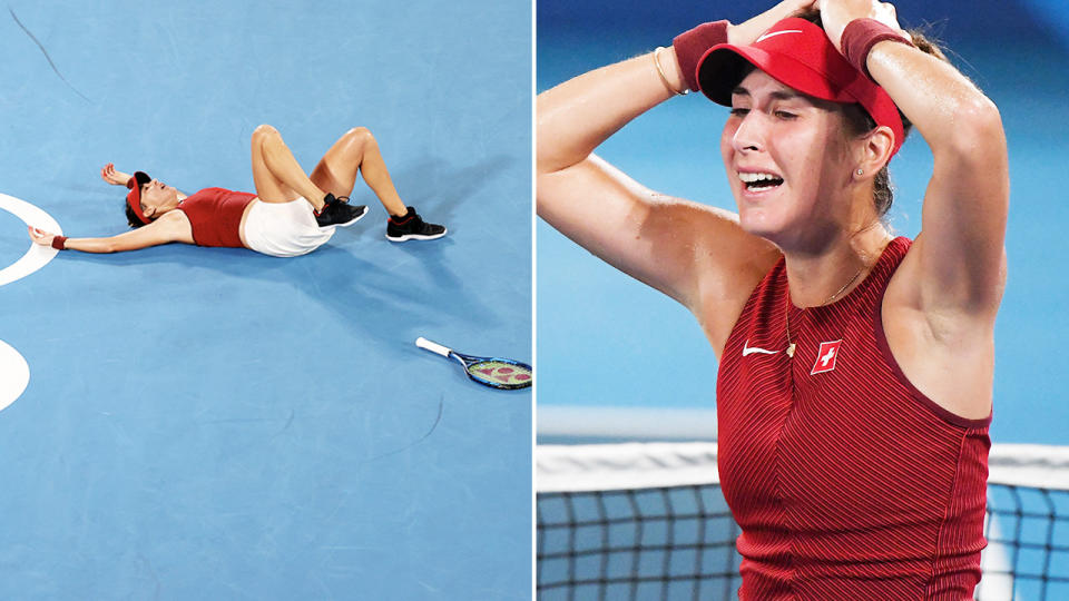 Belinda Bencic, pictured here after winning tennis gold at the Tokyo Olympics.