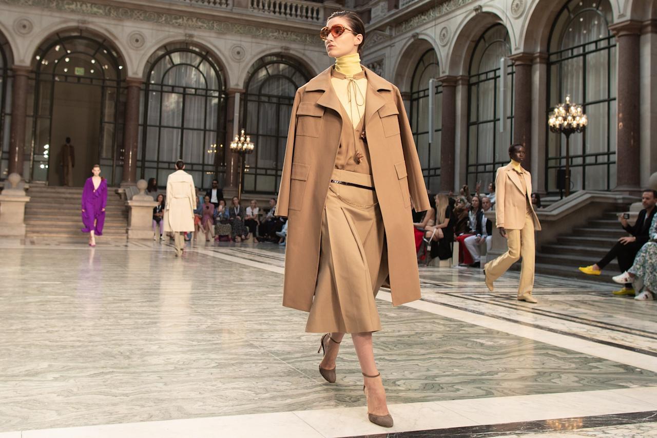 On the runway at the Victoria Beckham Show during London Fashion Week on Sunday, September 15th, 2019. Photograph by Serichai Traipoom for W Magazine.