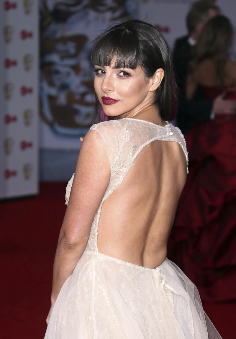 Actress Roxanne Pallett poses for photographers upon arrival to the British Academy Television Awards at the Royal Festival Hall in London, Sunday, May 14, 2017. (Photo by Joel Ryan/Invision/AP)