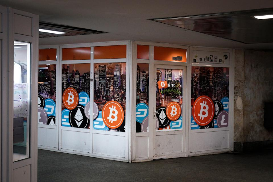 A exchange for cryptocurrencies is seen in Bydgozcz, Poland on March 8, 2019. (Photo by Jaap Arriens/NurPhoto via Getty Images)