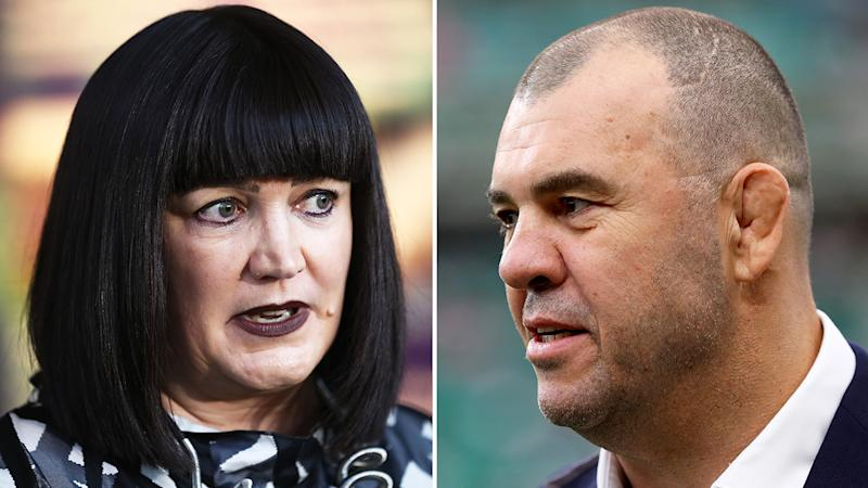 Rugby Australia boss Raelene Castle, left, reportedly apologised for the behaviour of now sacked coach Michael Cheika, right.