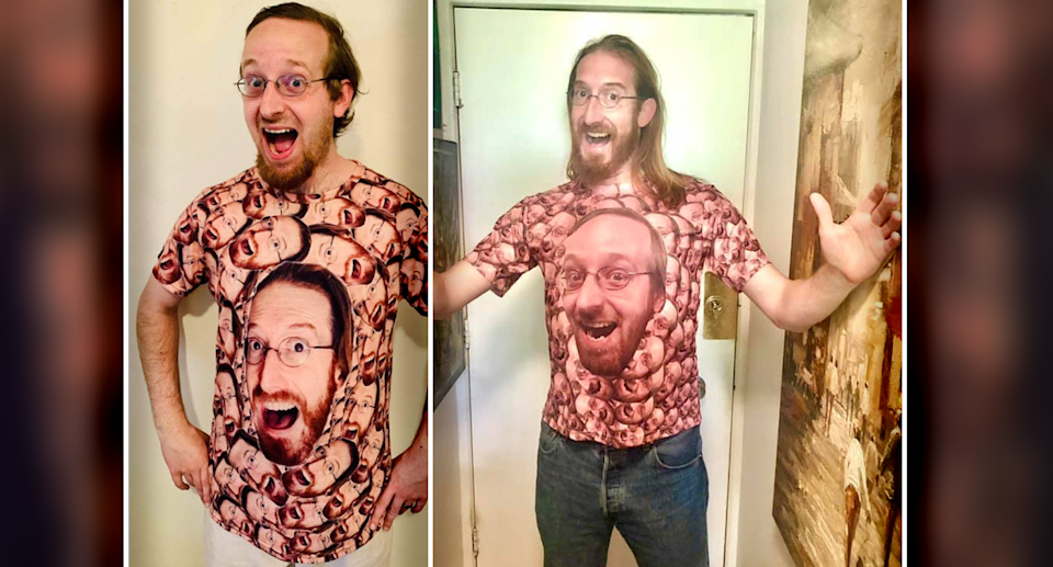 Zach (left) an Conor (right) wearing shirts with each other's faces on them. Source: Supplied