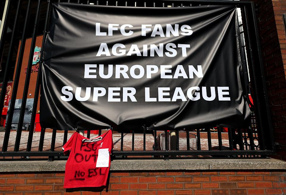 Banners protesting against the Super League were placed outside Anfield after Liverpool announced in April they were founder members of the new competition, a decision they quickly reversed (Peter Byrne/PA) (PA Wire)