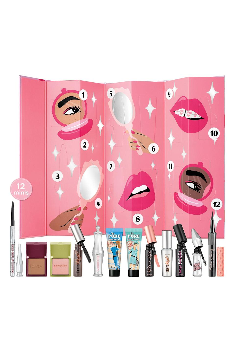 """<p><strong>Benefit Cosmetics</strong></p><p>sephora.com</p><p><strong>$65.00</strong></p><p><a href=""""https://go.redirectingat.com?id=74968X1596630&url=https%3A%2F%2Fwww.sephora.com%2Fproduct%2Fbenefit-cosmetics-shake-your-beauty-advent-calendar-P463804&sref=https%3A%2F%2Fwww.elle.com%2Fbeauty%2Fg34346227%2Fbest-makeup-beauty-advent-calendars%2F"""" rel=""""nofollow noopener"""" target=""""_blank"""" data-ylk=""""slk:Shop Now"""" class=""""link rapid-noclick-resp"""">Shop Now</a></p>"""