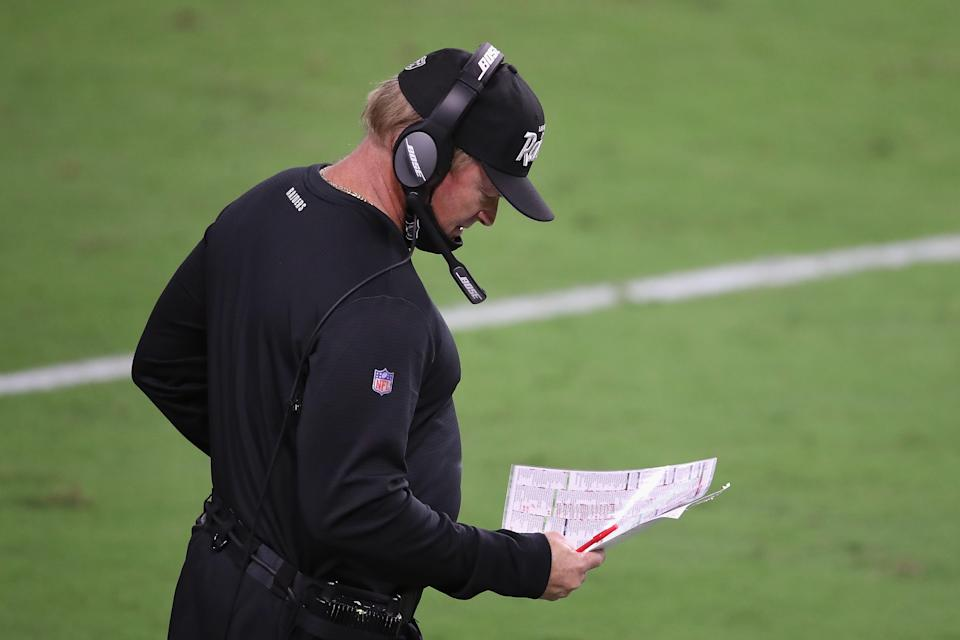 Raiders head coach Jon Gruden was seen multiple times in the game against the New Orleans Saints not wearing a mask. (Photo by Christian Petersen/Getty Images)