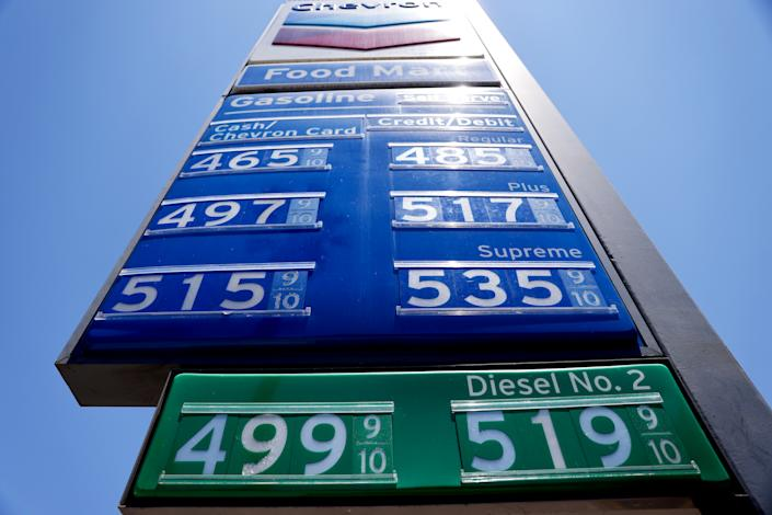 LOS ANGELES, CALIFORNIA - JUNE 14: Gas prices are displayed at a Chevron station on June 14, 2021 in Los Angeles, California. The average price for a gallon of gasoline continues to rise amid inflation fears with the current rate of regular grade up to $3.13 nationwide. In California, the average price is now over $4.00. (Photo by Mario Tama/Getty Images)