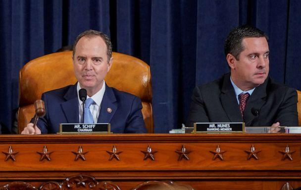 PHOTO: House Intelligence Committee Chairman Adam Schiff, left, uses his gavel next to ranking member Rep. Devin Nunez, during a hearing featuring the testimony of Marie Yovanovitch, as part of the impeachment inquiry on Capitol Hill, Nov. 15, 2019. (Joshua Roberts/Pool via Reuters)