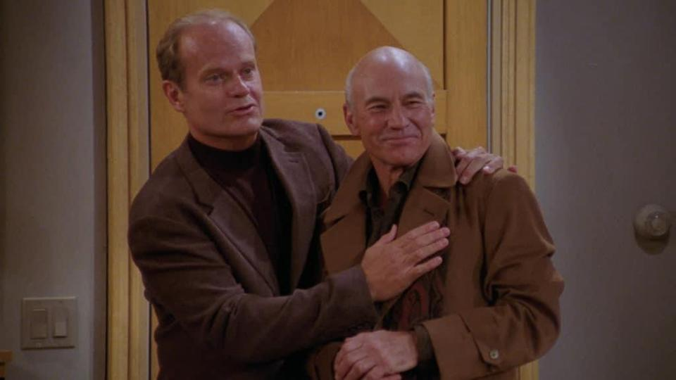 Frasier revival: Kesley Grammar (L) and Patrick Stewart in 'The Doctor is Out'. (NBC)