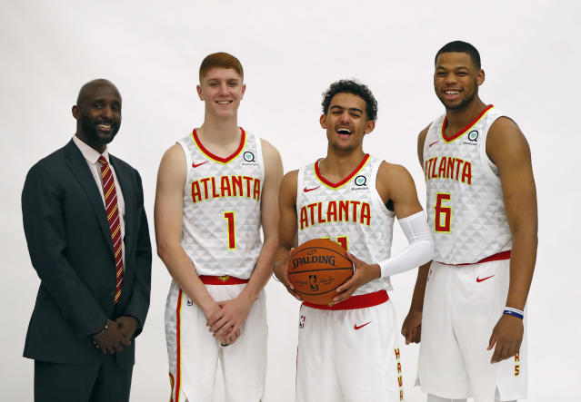 Atlanta Hawks head coach Lloyd Pierce has a young core to develop, including first-round draft picks Kevin Huerter, Trae Young and Omari Spellman. (AP)