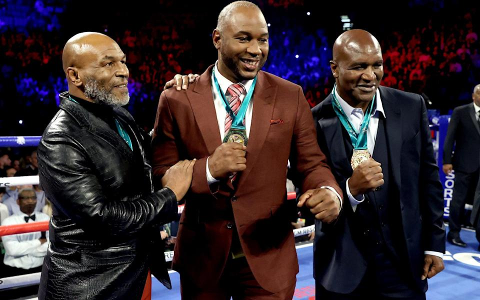 Former Heavyweight Champions Mike Tyson, Lennox Lewis and Evander Holyfield are honored prior to the Heavyweight bout for Wilder's WBC and Fury's lineal heavyweight title between Tyson Fury and Deontay Wilder - GETTY IMAGES