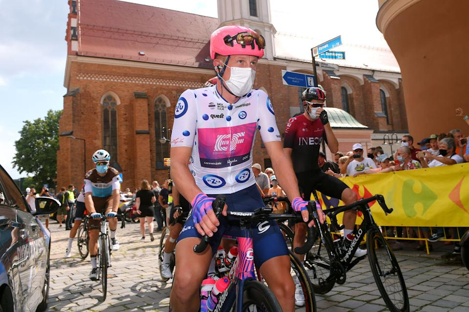 Julius Van Den Berg of EF Pro Cycling held the Polka Dot Mountain Jersey for stage 2.