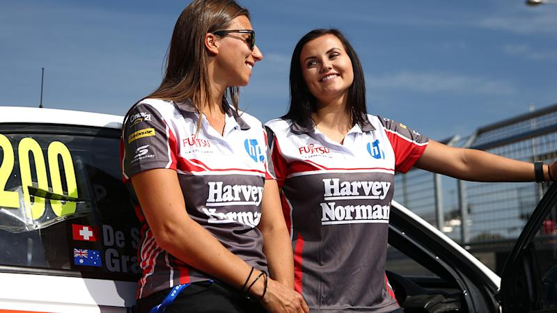 Simona De Silvestro and Renee Gracie are pictured together prior to the 2015 Bathurst 1000.