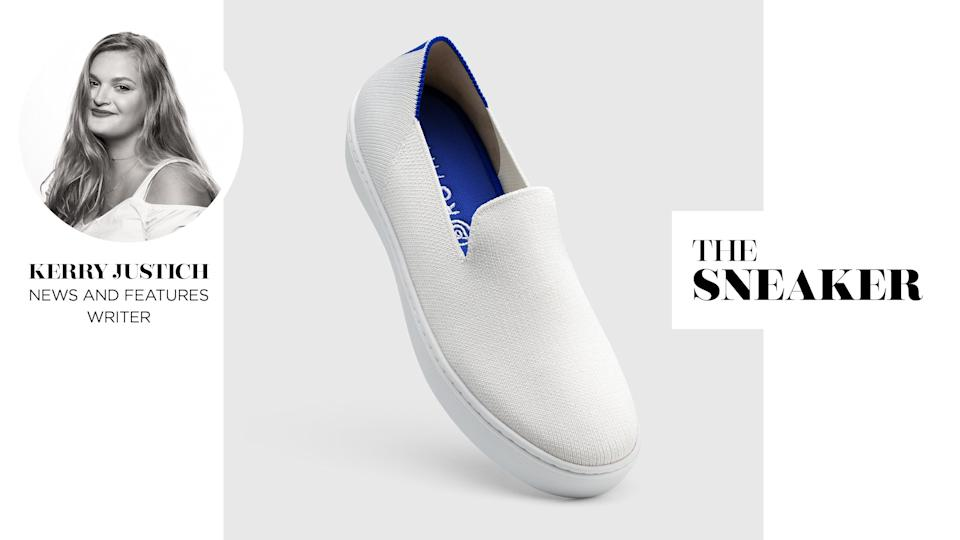 Yahoo Lifestyle News and Features Writer Kerry Justich reviews Rothy's the Sneaker in Bright White. (Photo: Rothy's)