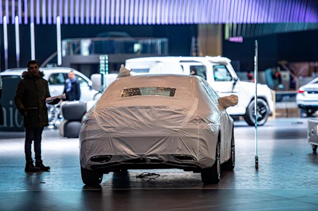 GENEVA, SWITZERLAND - FEBRUARY 28: Exhibitors have to dismantle their displays after cancellation of the Geneva Auto Show on February 28, 2020 in Geneva, Switzerland. Photo: Robert Hradil/Getty Images
