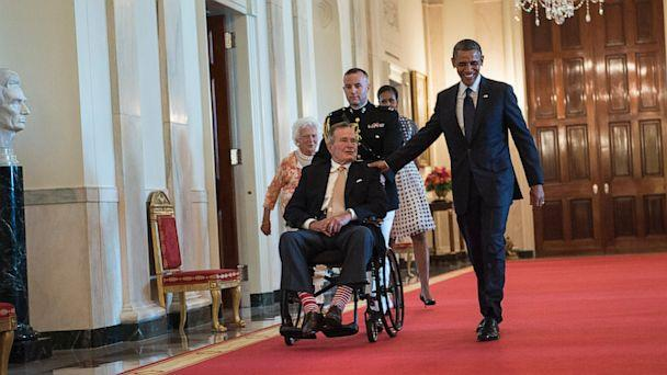 GTY obama bush tk 130715 16x9 608 Obama Honors George H.W. Bushs Legacy Of Service