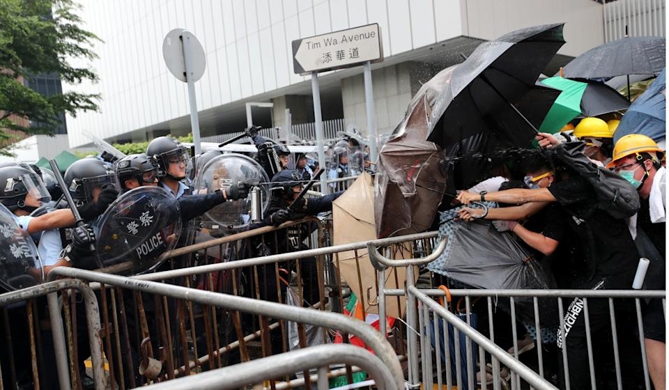There were violent clashes outside the legislature on June 12. Photo: Sam Tsang