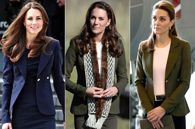 Kate Middleton in 2011, 2016 and 2018