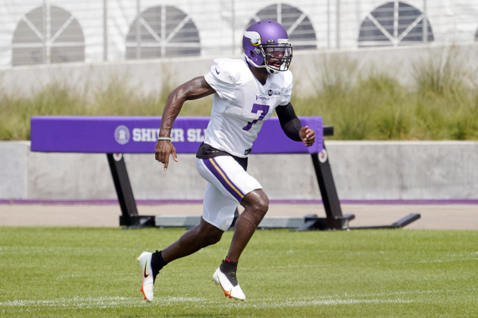 Minnesota Vikings cornerback Patrick Peterson sets up in a defensive drill during the NFL football team's training camp, Friday, Aug. 6, 2021, in Eagan, Minn. (AP Photo/Jim Mone)