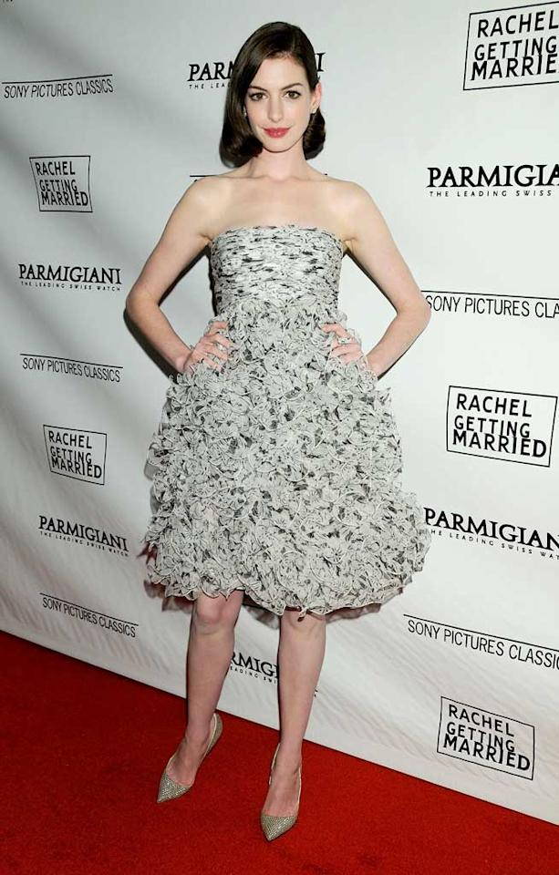 """""""Rachel Getting Married' star Anne Hathaway didn't shy away from the cameras or questions about her public breakup from convicted conman Raffaello Follieri. The actress admitted that she's going through a tough time but has a job to do: promoting her new film. Gregg DeGuire/<a href=""""http://www.wireimage.com"""" target=""""new"""">WireImage.com</a> - September 15, 2008"""