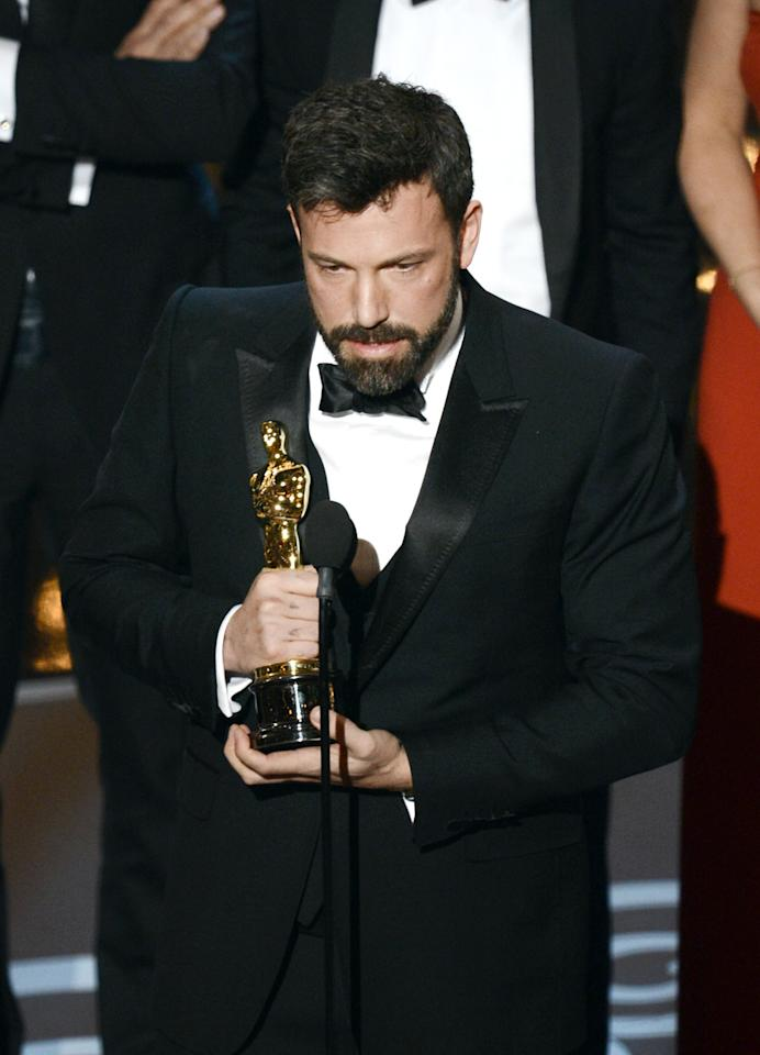 "HOLLYWOOD, CA - FEBRUARY 24:  Actor/producer/director Ben Affleck accepts the Best Picture award for ""Argo"" onstage during the Oscars held at the Dolby Theatre on February 24, 2013 in Hollywood, California.  (Photo by Kevin Winter/Getty Images)"