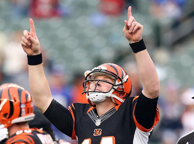 CINCINNATI, OH - NOVEMBER 11: Andy Dalton #14 of the Cincinnati Bengals celebrates following 31-13 win in the NFL game against the New York Giants at Paul Brown Stadium on November 11, 2012 in Cincinnati, Ohio. (Photo by Andy Lyons/Getty Images)