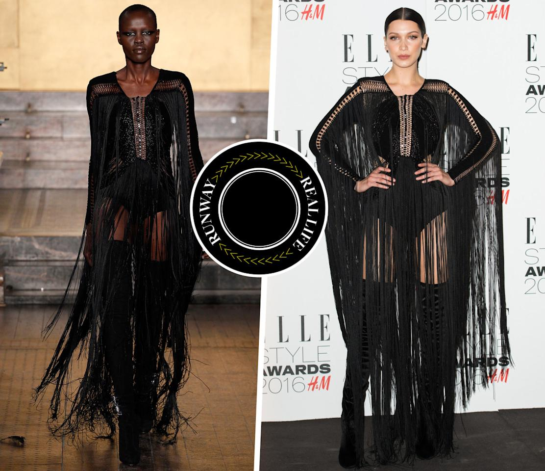 <p>Just days after hitting the runway, this fringy black Julien MacDonald look was worn by It-model Bella Hadid at the <i>Elle</i> Style Awards in London. <i>Photo: Runway (IMAXtree) & Celebrity (Getty Images)</i></p>