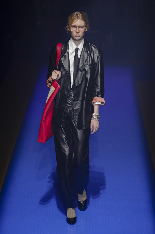 <p><i>A black leather suit was from the SS18 Gucci collection. (Photo: ImaxTree) </i></p>