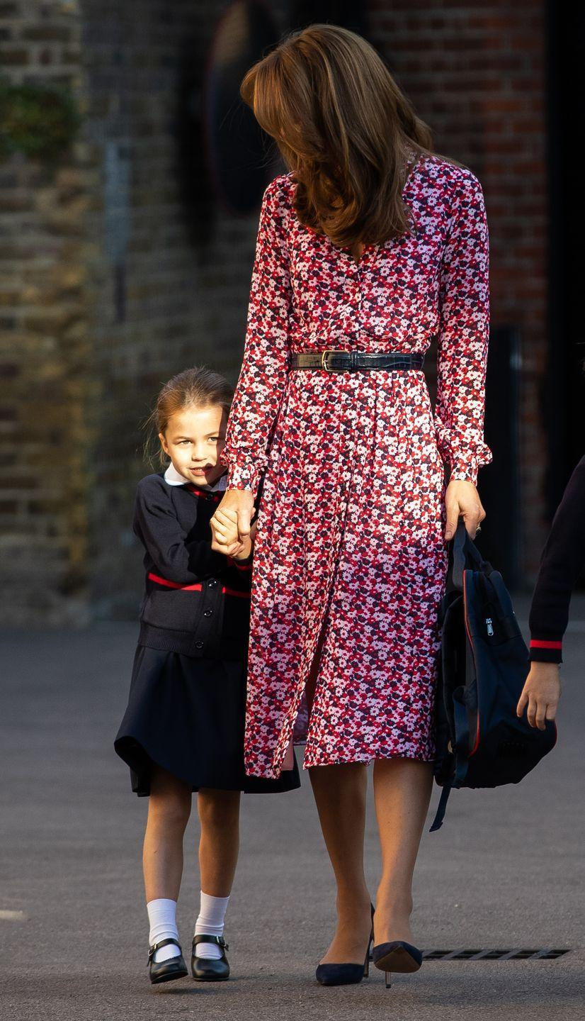 <p>The normally confident Princess Charlotte was a bit shy on her first day at Thomas's Battersea. </p>