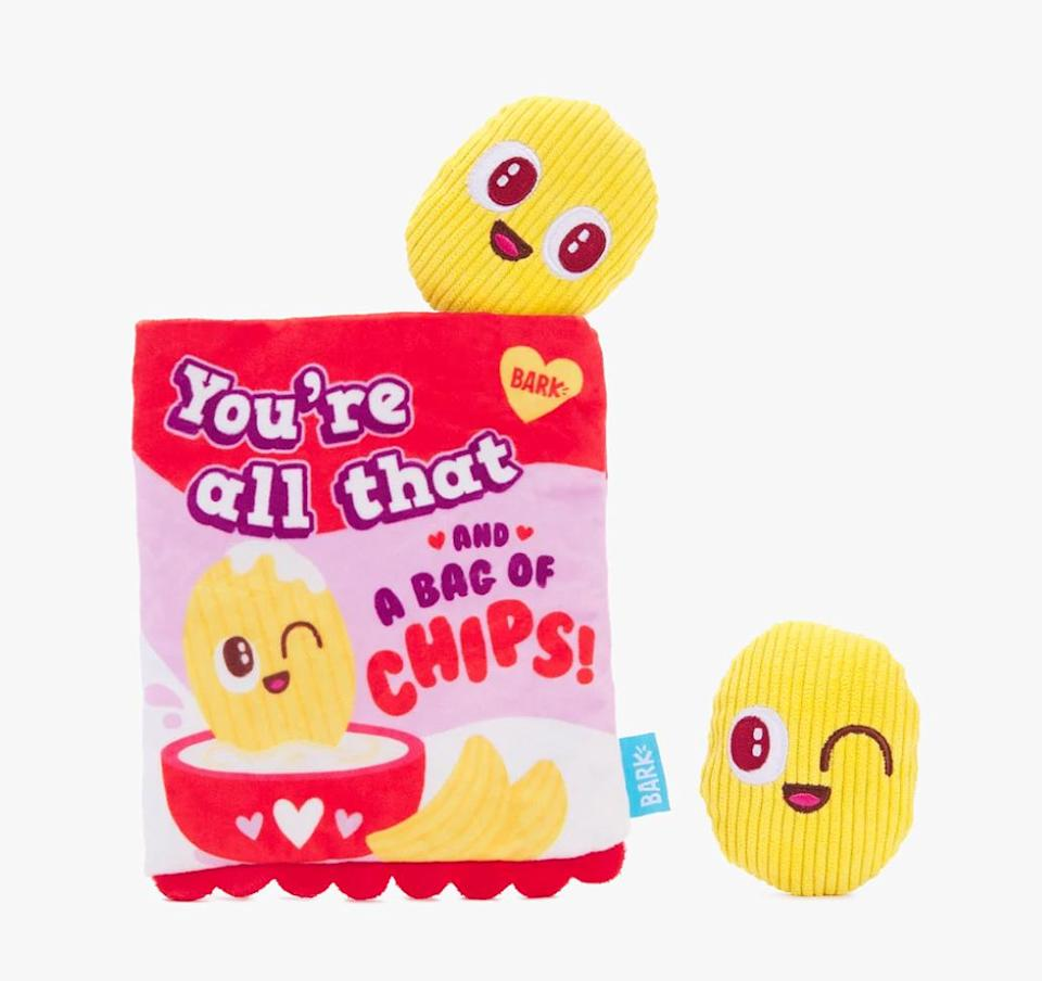 """<p>You know your dog is all that and a bag of chips, now make sure they know it too. </p> <p><strong>Buy it!</strong> Smitten Chips Toy, $10.00; <a href=""""https://barkshop.com/products/smitten-chips"""" rel=""""nofollow noopener"""" target=""""_blank"""" data-ylk=""""slk:BarkShop.com"""" class=""""link rapid-noclick-resp"""">BarkShop.com</a></p>"""