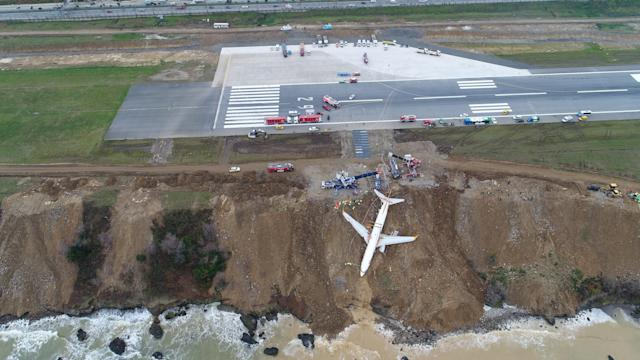 <p>Cranes lift Pegasus airplane which was stucked in mud as it skidded off the runway after landing in Trabzon Airport, Turkey on Jan. 18, 2018. (Photo: Anadolu Agency/Getty Images) </p>