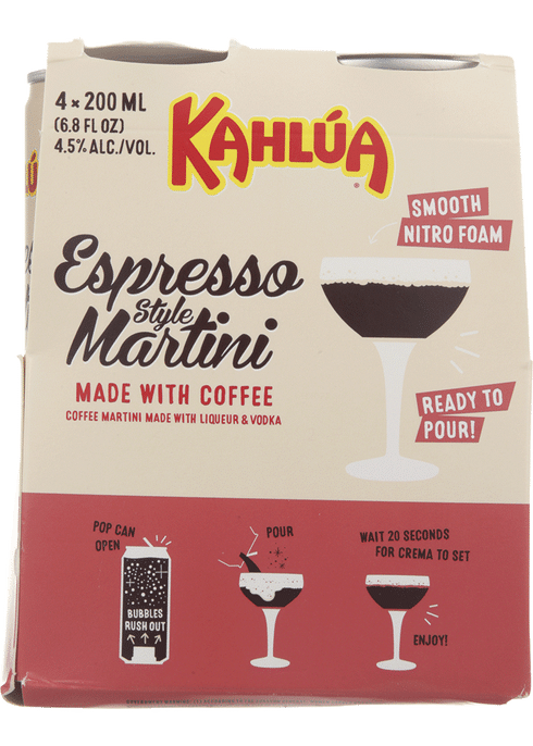 "<p><strong>Kahlua</strong></p><p>totalwine.com</p><p><strong>$10.99</strong></p><p><a href=""https://go.redirectingat.com?id=74968X1596630&url=https%3A%2F%2Fwww.totalwine.com%2Fspirits%2Fready-to-drink%2Funique-cocktails%2Fkahlua-espresso-martini-rtd%2Fp%2F219018200&sref=https%3A%2F%2Fwww.delish.com%2Fentertaining%2Fg27421870%2Fcanned-cocktails%2F"" rel=""nofollow noopener"" target=""_blank"" data-ylk=""slk:BUY NOW"" class=""link rapid-noclick-resp"">BUY NOW</a></p><p>If you're a fan of spiked coffee (um, who isn't?) <a href=""https://www.delish.com/food-news/a26569837/kahlua-espresso-martini-cans/"" rel=""nofollow noopener"" target=""_blank"" data-ylk=""slk:then you need to try Kahlúa's Espresso Martini"" class=""link rapid-noclick-resp"">then you need to try Kahlúa's Espresso Martini</a>. The ready-to-drink cocktail is the perfect blend of kahlúa, coffee, vodka, and an espresso-style foam topping.</p>"