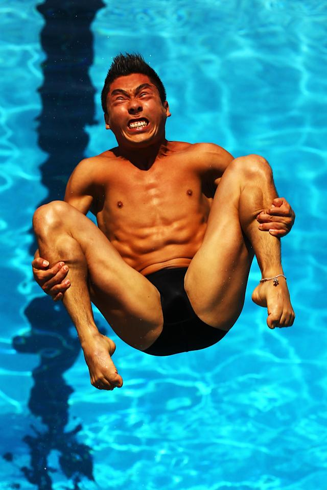 FORT LAUDERDALE, FL - MAY 11: Julian Sanchez of Mexico dives during the Mens 3m springboard Semi Finals at the Fort Lauderdale Aquatic Center on Day 2 of the AT&T USA Diving Grand Prix on May 11, 2012 in Fort Lauderdale, Florida. (Photo by Al Bello/Getty Images)
