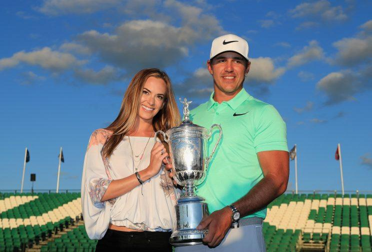 Jena Sims and Brooks Koepka celebrate Brooks&#x27 U.S. Open victory