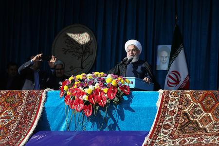 Iranian President Hassan Rouhani gives a public speech during a trip to the northern Iranian city of Shahroud
