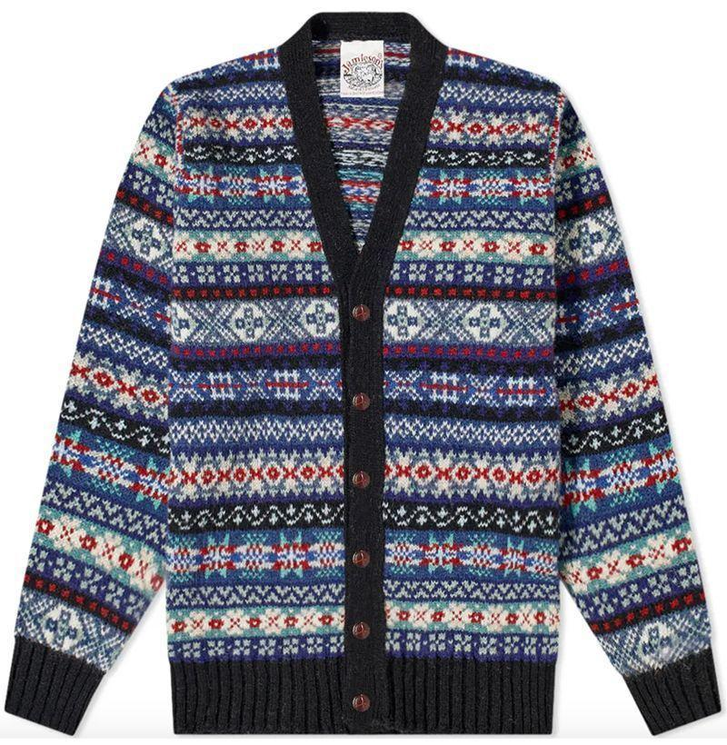 """<p><strong>Jamieson's of Shetland </strong></p><p>endclothing.com</p><p><strong>$209.00</strong></p><p><a href=""""https://go.redirectingat.com?id=74968X1596630&url=https%3A%2F%2Fwww.endclothing.com%2Fus%2Fjamieson-s-of-shetland-fair-isle-v-neck-cardigan-mk159v-625-13-105.html&sref=https%3A%2F%2Fwww.esquire.com%2Fstyle%2Fmens-fashion%2Fg34876694%2Fbest-new-menswear-december-5-2020%2F"""" rel=""""nofollow noopener"""" target=""""_blank"""" data-ylk=""""slk:Buy"""" class=""""link rapid-noclick-resp"""">Buy</a></p>"""