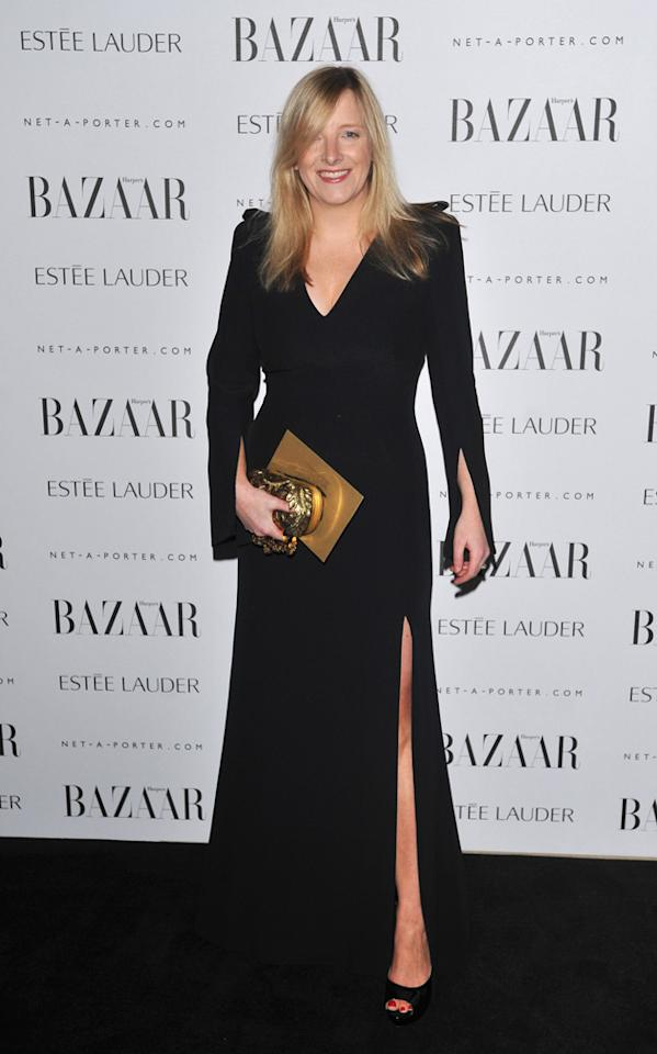 Sarah Burton went classic in a black gown to pick up her award after designing Kate Middleton's wedding dress.