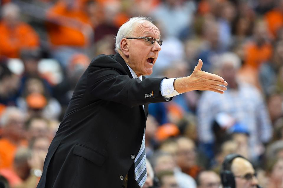 SYRACUSE, NY - NOVEMBER 06:  Head coach Jim Boeheim of the Syracuse Orange reacts to a play against the Virginia Cavaliers during the first half at the Carrier Dome on November 6, 2019 in Syracuse, New York. (Photo by Rich Barnes/Getty Images)