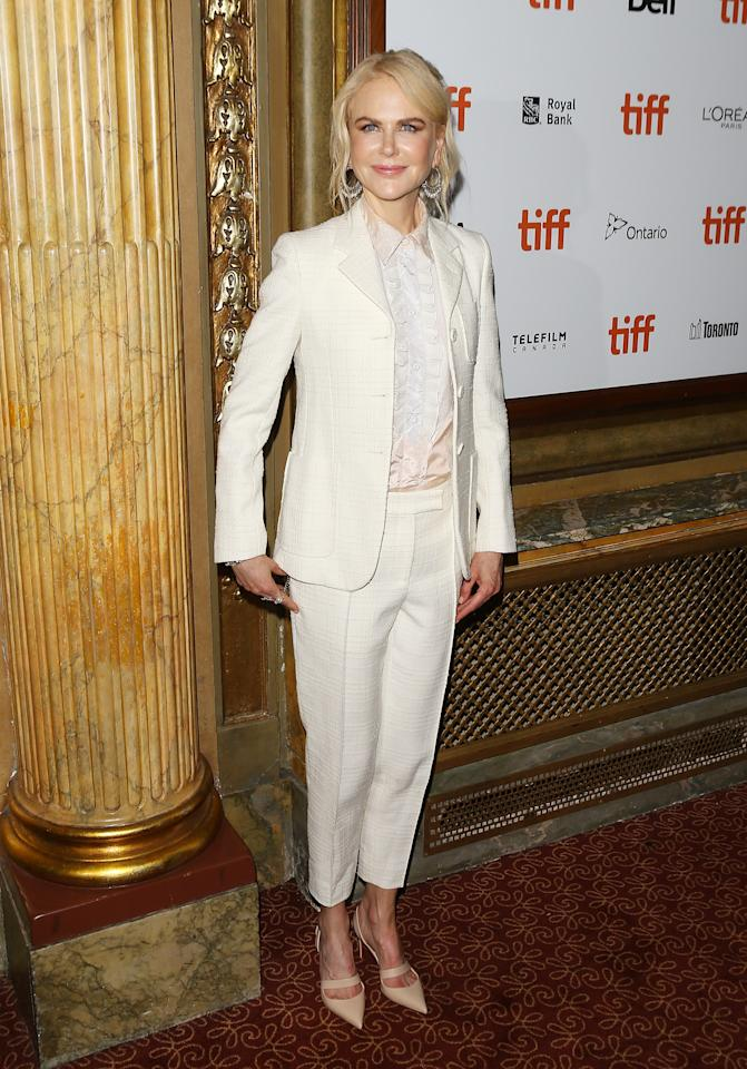 "<p>The night before, Kidman opted for a cream suit by Bottega Veneta for the premiere of ""Destroyer."" </p>"